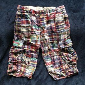 GAP boys' plaid cargo shorts, size 18